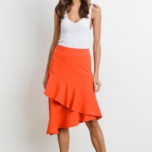 NWT Orange Asymmetrical Ruffle Hem Midi Skirt